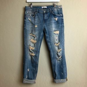 Zara distressed destroyed boyfriend jean